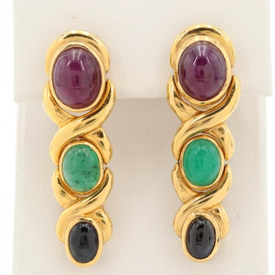14K Yellow Gold Ruby, Emerald and Sapphire Drop Earrings