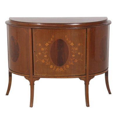 Belgian Rococo Style Mahogany and Marquetry Commode, Early to Mid 20th Century