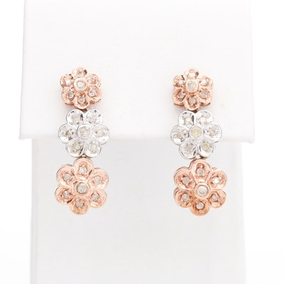 10K Rose and White Gold Diamond Floral Earrings