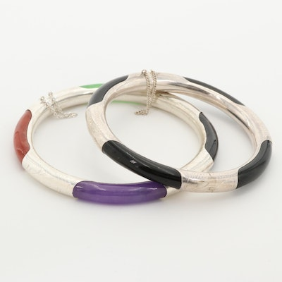 Sterling Silver Jadeite and Black Onyx Bangle Bracelets