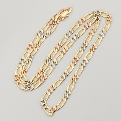 18K Yellow, White and Rose Gold Figaro Chain Necklace