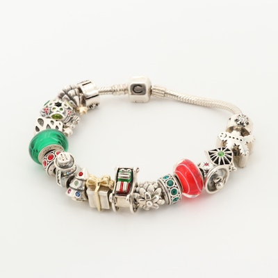 Chamillia Sterling Silver Holiday Themed Charm Bracelet Including Enamel