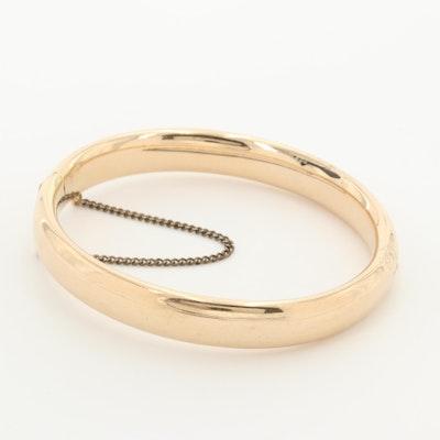 Circa 1910 14K Yellow Gold Hinged Bangle Bracelet