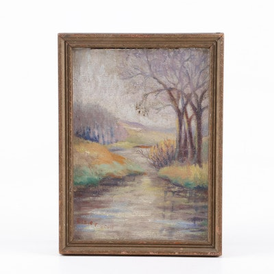 Elsie F. Scull Pastel Drawing of a River Scene