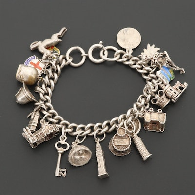 Vintage Sterling European Travel Theme Charm Bracelet with Enamel and 800 Silver