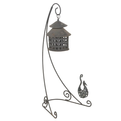Iron Pergola and Seahorse Basket Lantern on Arched Stand