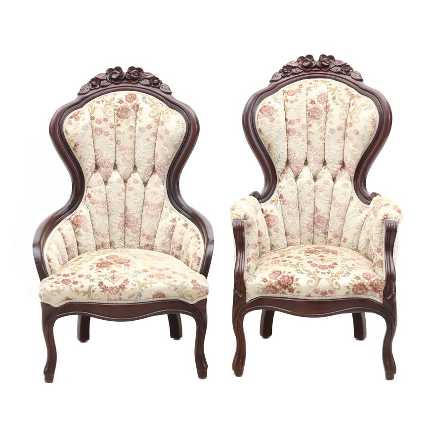 Embroidered Armchairs, Circa Early 20th Century, Pair