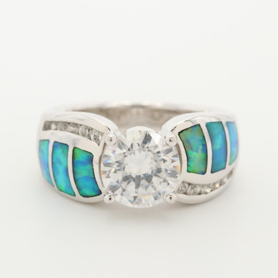 Sterling Silver Cubic Zirconia and Opal Inlay Ring
