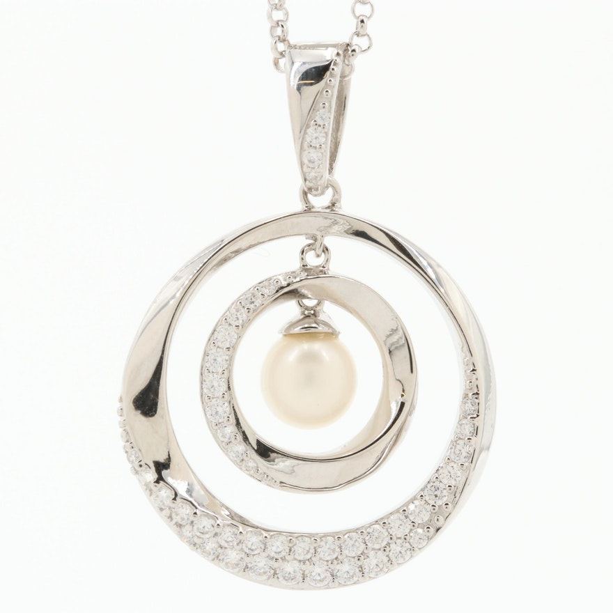 Elle Sterling Silver Cultured Pearl, Cubic Zirconia and Ruby Pendant Necklace