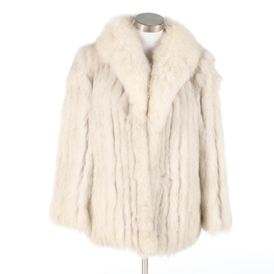 Saga Fox Blue Fox Fur Jacket with Shawl Collar