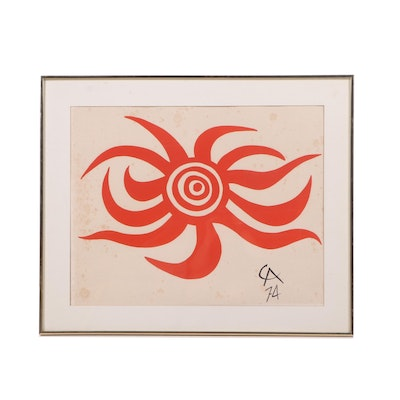 "Alexander Calder Color Lithograph ""Sunburst"" from ""Flying Colors Collection"""