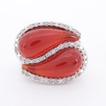 10K White Gold, Carnelian and Diamond Ring