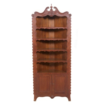 Transitional Walnut Carved Corner China Cabinet, Antique