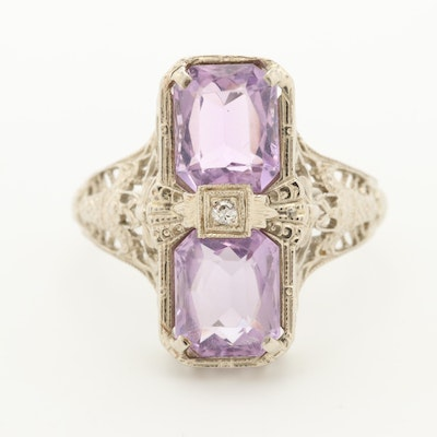Art Deco 14K White Gold Diamond and Amethyst Ring with Openwork Design