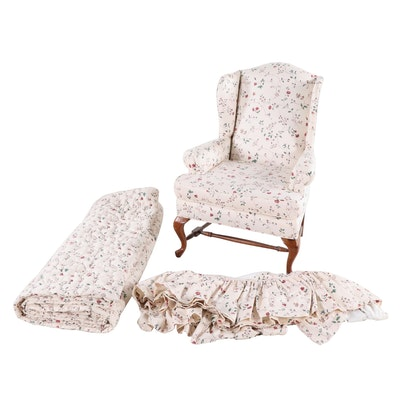 Queen Anne Style Upholstered Wingback Chair with King Comforter and Bedskirt