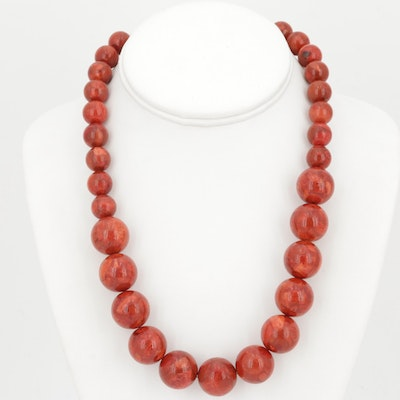 Sterling Silver Graduating Coral Bead Strand Necklace