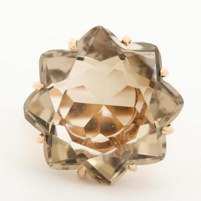 Vintage 14K Rose Gold Smoky Citrine Ring