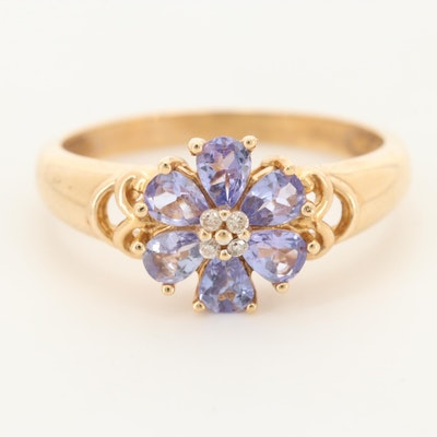 14K Yellow Gold Diamond and Tanzanite Ring