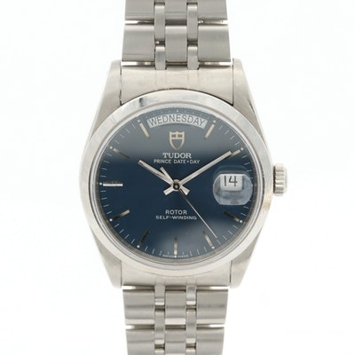 Tudor Prince Stainless Steel Automatic Wristwatch With Day -Date