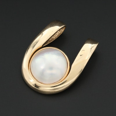 14K Yellow Gold Cultured Mabe Pearl Slide Pendant