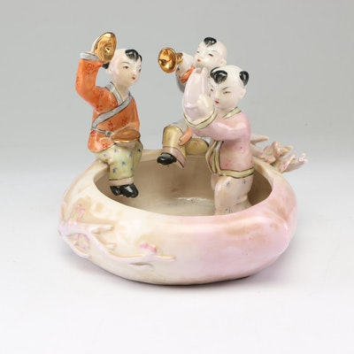 Chinese Figural Peach-Form Ceramic Brush Washer