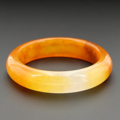 Carved Quartz Bangle Bracelet
