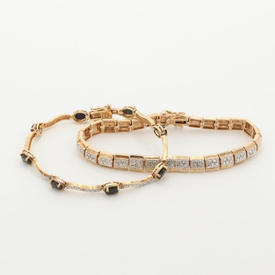 Sterling Silver Blue Sapphire and Diamond Bracelets