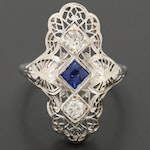 Art Deco 18K White Gold Blue Sapphire and Diamond Ring