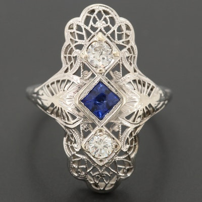 Art Deco 18K White Gold Blue Sapphire and Diamond Ring