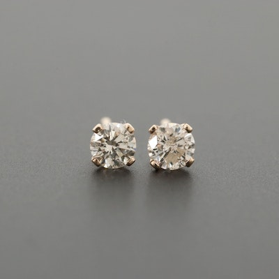 14K Yellow Gold Diamond Solitaire Stud Earrings