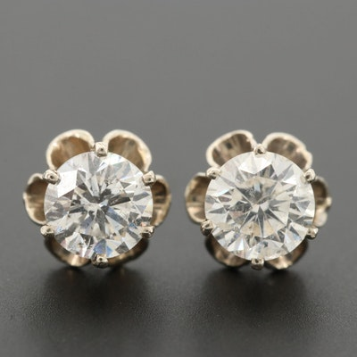 Vintage 14K White Gold 1.43 CTW Diamond Stud Earrings