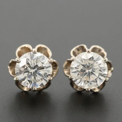 Vintage 14K White Gold 1.43 CTW Diamond Stud Earrings