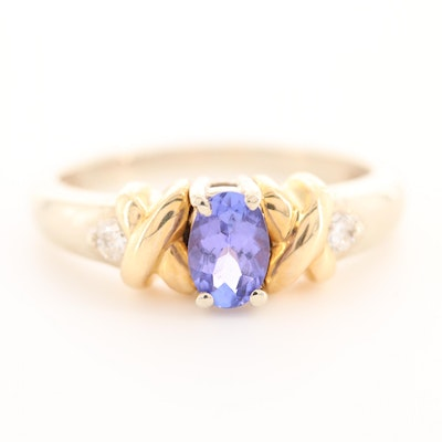 14K White Gold Tanzanite and Diamond Ring with 14K Yellow Gold Accents