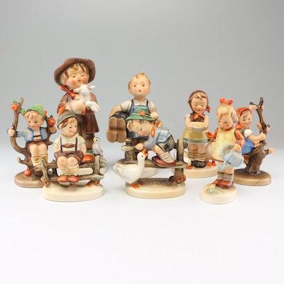 "Goebel Hummel Porcelain Figurines Including ""Apple Tree Girl"" and ""Lost Sheep"""