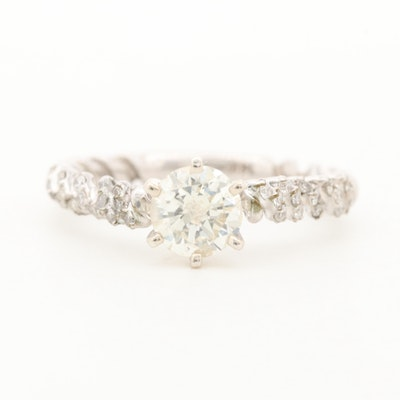 14K White Gold 0.95 CTW Diamond Ring