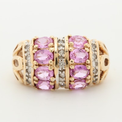 14K Yellow Gold Pink Sapphire and Diamond Dome Ring