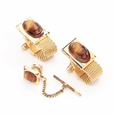 Vintage Hickok Gold Tone and Molded Plastic Wrap Around Cufflinks and Lapel Pin