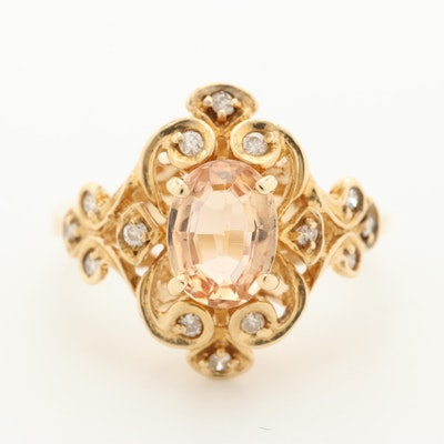 14K Yellow Gold Topaz and Diamond Ring with Scrollwork Setting