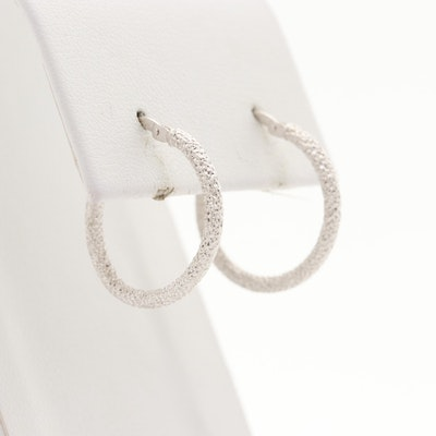 14K White Gold Textured Hoop Earrings