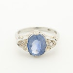 Circa 1950s 18K White Gold Blue Sapphire and Diamond Openwork Ring