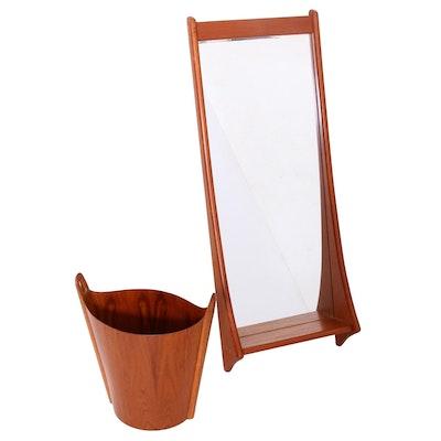 Danish Modern D.M. Spejle Teak Wall Mirror and Norwood LTD Trash Can