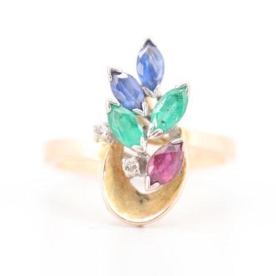 14K Yellow Gold Diamond and Gemstone Ring