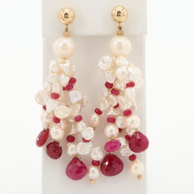 14K Yellow Gold Cultured Pearl and Ruby Chandelier Earrings
