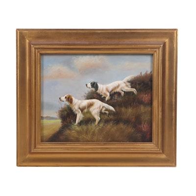 "Academic Style Oil Painting ""Pheasant Hunt"""
