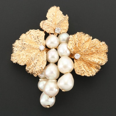 14K Yellow Gold Cultured Pearl and Diamond Grape Cluster Brooch