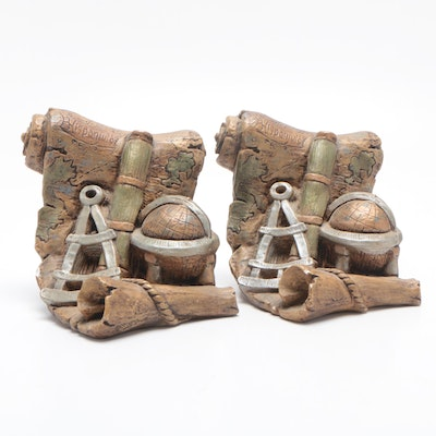 Exploration Themed Plaster Bookends, Mid-20th Century