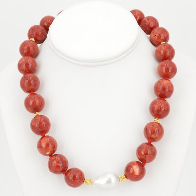 Coral Bead and Freshwater Pearl Necklace