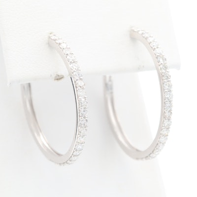 14K White Gold 1.32 CTW Diamond Hoop Earrings