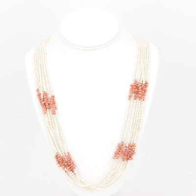 Sterling Silver Freshwater Pearl and Coral Necklace
