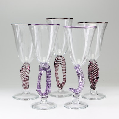 Frank E. Englesby Hand-Blown Art Glass Goblets